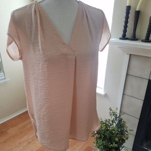 H&M light pink silk blouse